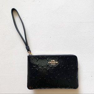 Coach - Debossed Signature Patent Wristlet Black
